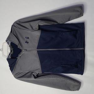 Under Armour youth zip up hooded hoodie blue gray Loose sweatshirt sz medium